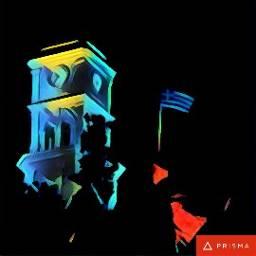 poros clocktower greece nightsky greekflag