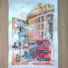 piccadilly piccadillycircus london redbus watercolor