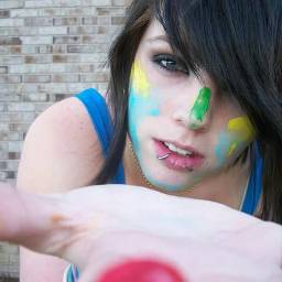 FreeToEdit colorful facepaint shorthair girl lady woman young hand reachingout