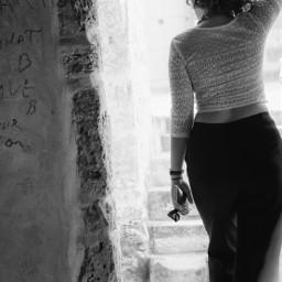 girl beautiful blackandwhite behind door