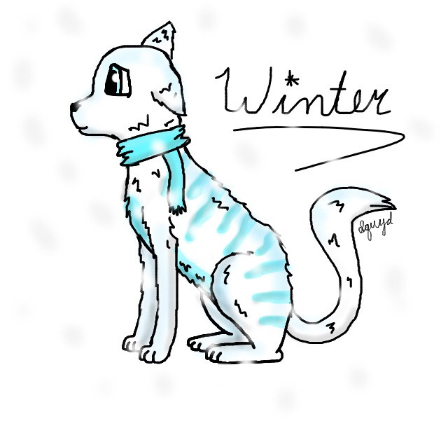 New OC - ❄️ Winter ❄️  Backstory: Winter, one of the four daughters of Mother Earth, lived in harmony with her beloved sisters, Summer, Autumn and Spring.  When one day they had a huge fight. Winter loved the cold and wanted it all year round. Summer loved the warmth and wanted the sun all year round. Autumn and Spring were confused as to why their big sisters were fighting and proposed that they each get a quarter of the year to whatever weather they wanted. They all agreed and continue to live this way to this day.   Personality: Shy, anxious, cautious and protective  Species: Seasonal Cat  #art #cat #winter #oc #cold #snow #seasons