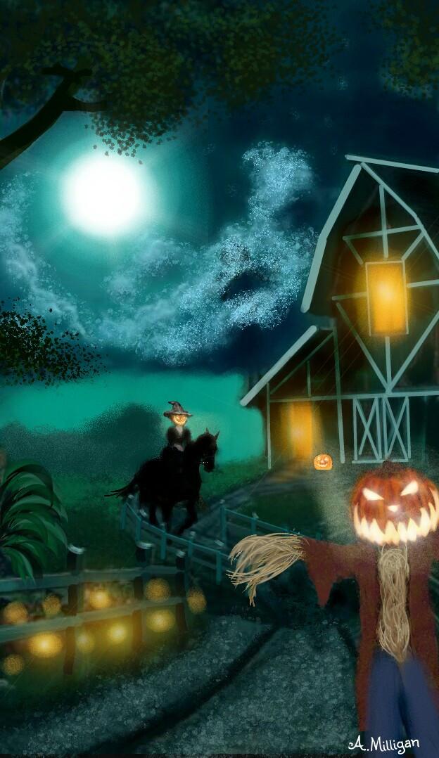 #wdppumpkin  #colorful  #colorsplash  #nighttime  #pumpkins  #scarecrow  #horse  #rider  #fantasy  #moonlight  #draw😊❤💚