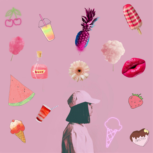 #FreeToEdit  #remixme  #pink #lip #pineapple  #cherry #watermelon  #strawberry  #icecream  #candyfloss  #flower #cocktail #lovepotion