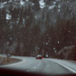 snow winter roadtrip peacful snowflake
